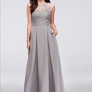 Full length pewter gown with embellished bust